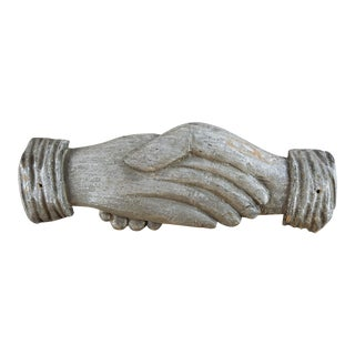 Antique Hand Carved Shaking Hands Odd Fellows For Sale