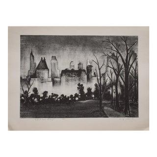 Adolf Dehn Central Park at Night Lithograph, 1939