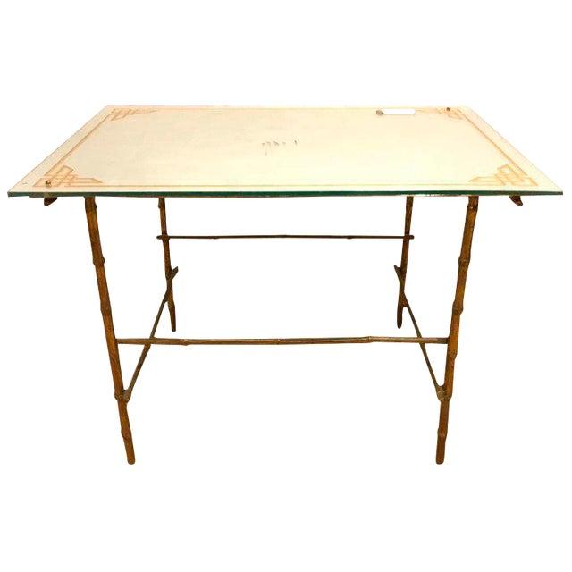 Hollywood Regency Bronze Based Eglomise Top Coffee Table - Image 1 of 10