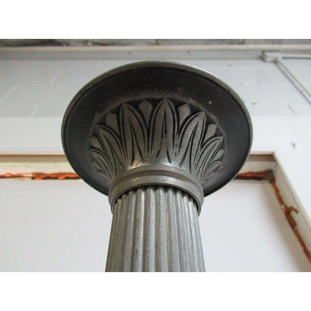 Antique Aluminum Carved Industrial Regency Pedestal Candle Base For Sale - Image 9 of 10