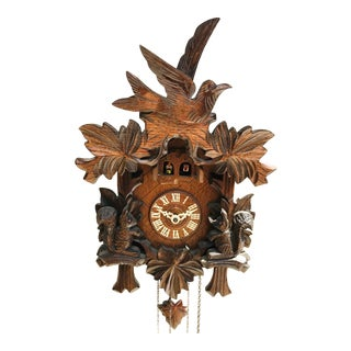 Vintage German Switzerland Black Forest Hand Carved Bird and Squirrels Cuckoo Clock For Sale