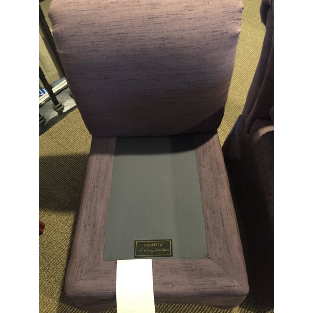 Linen 1980s Vintage Heritage Plum Color Linen Slipper Chairs- A Pair For Sale - Image 7 of 12