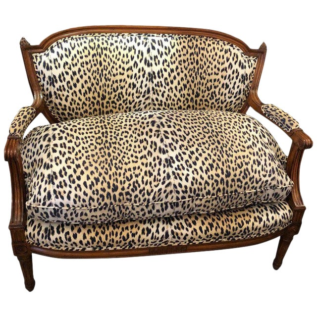 Louis XIV Carved Walnut and Faux Leopard Loveseat Settee For Sale