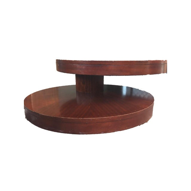 Oval Rotating Coffee Table: Round Wooden Rotating Coffee Table