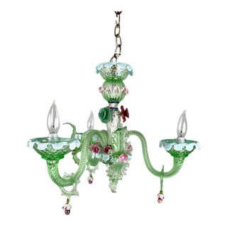 Vintage Small 3 Light Murano Glass Chandelier For Sale
