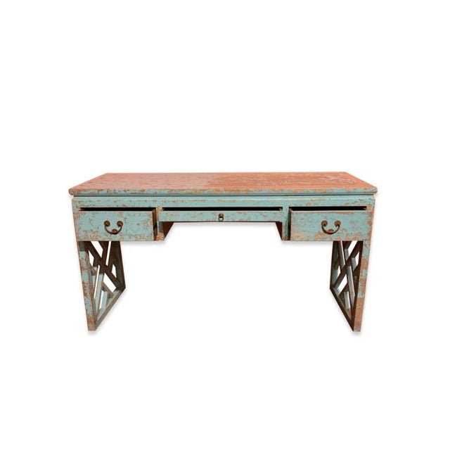 This desk is made out of Asian Elm Wood. It is modern Asian style with panel legs design.