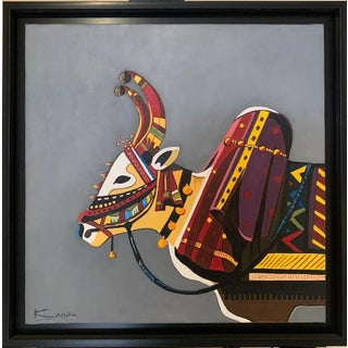 Nandi Indian Acrylics on Canvas Painting For Sale