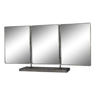 Hollywood Regency Hammered Chrome Tri-Panel Vanity Mirror For Sale