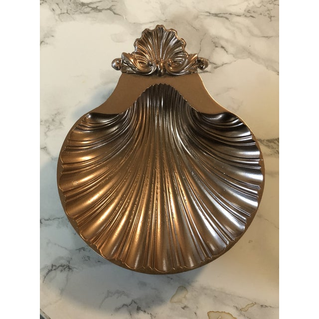 Art Deco 1940s Rose Gold Shell Baptism Tray/Catchall For Sale - Image 3 of 6