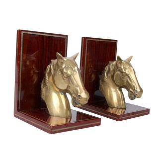 Brass Horsehead on Rosewood Bookends - Pair For Sale