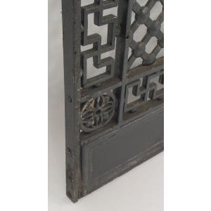 American Victorian style (19/20th Cent) iron gates with filigree scroll design and lattice base For Sale - Image 4 of 11