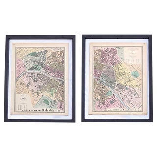 Antique Map of Paris Diptych For Sale