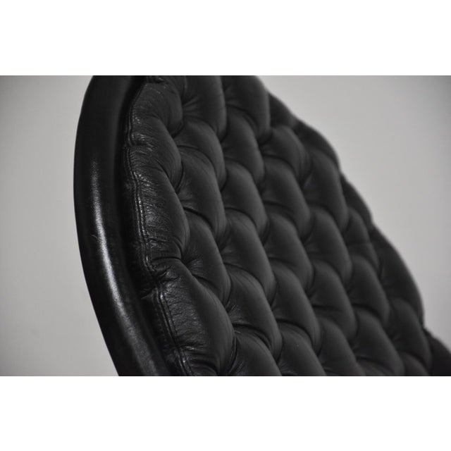 Black Verner Panton Black Leather Chaise Lounge For Sale - Image 8 of 11