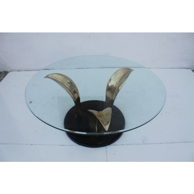 Gold Lacquer & Brass Palm Leaf Coffee Table For Sale - Image 8 of 10