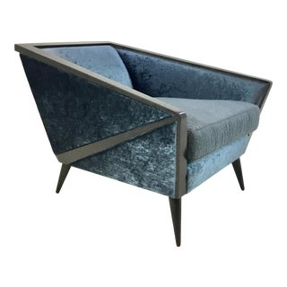 Caracole Modern Retro Style Blue Velvet the Crane Club Chair For Sale