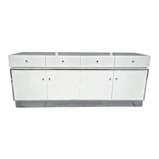 Thomasville 1976, Sideboard/Credenza Off-White, W/ Chrome Trim For Sale