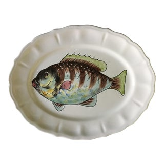 Vintage Italian Multi-Colored Blue Fish Scalloped Platter For Sale