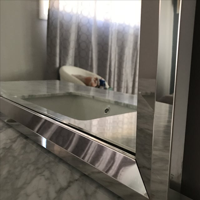 Mid-Century Modern Marble Bathroom Vanity with Chrome Mirror For Sale - Image 9 of 9