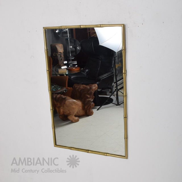 Hollywood Regency Faux Bamboo Brass Mirror Frame For Sale - Image 9 of 9