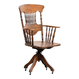 Antique Oak Lawyer's Chair, Turn of the Century For Sale