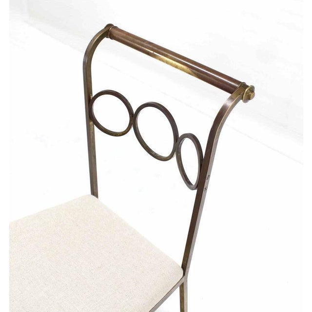 Brass Set of Six Rare Brass Dining Side Chairs in Style of Jean Royère For Sale - Image 7 of 8