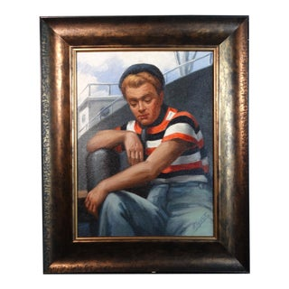 1940s Portrait of a Merchant Sailor Oil Painting Signed F. Voyska, Framed For Sale