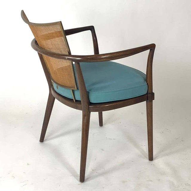 Metal Pair of Sculptural Bert England Brass, Cane & Carved Walnut Arm or Dining Chairs For Sale - Image 7 of 13