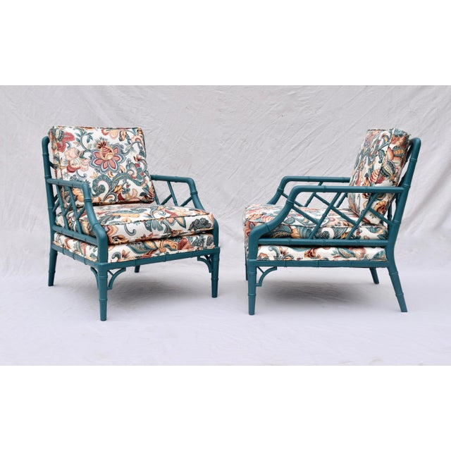 Faux Bamboo Chinese Chippendale Lounge Chairs For Sale In Philadelphia - Image 6 of 13