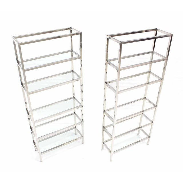 Pair of Tall Glass 6 Tier Shelves Chrome Etageres For Sale In New York - Image 6 of 6