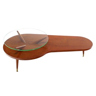 Mid Century Modern Walnut Organic Kidney Shape Coffee Table Round Glass Top