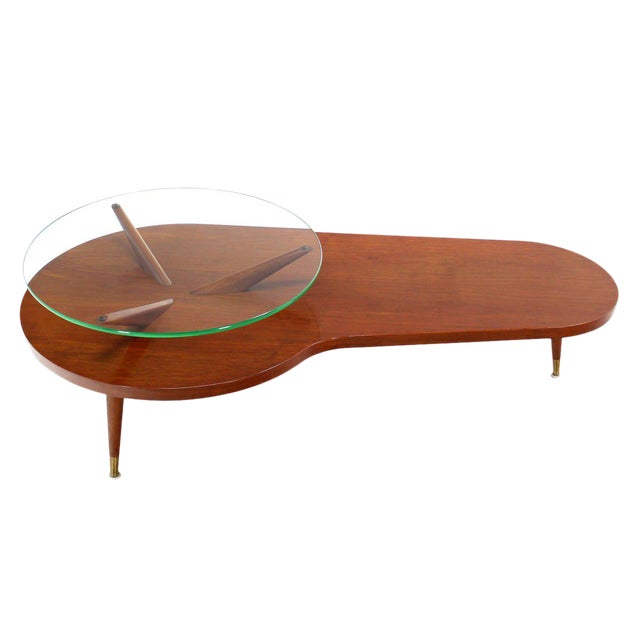 Mid Century Modern Walnut Organic Kidney Shape Coffee Table Round Glass Top For Sale