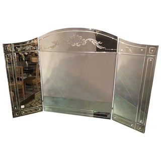 Hollywood Regency Style Gilt Etched Glass Tri-Fold Large Vanity or Desk Mirror For Sale