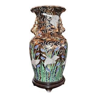 20c Chinese Gilt Crane Vase For Sale