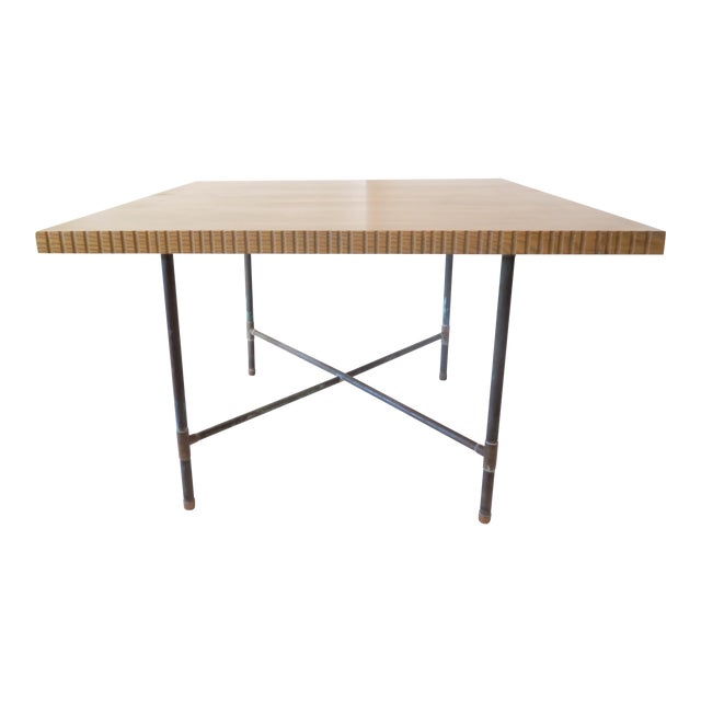 Pipe Table With Chisled Edge Wood Top - Image 1 of 6