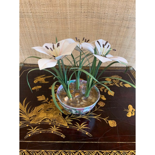 Tole Potted Flowers in Famille Rose Bowl For Sale - Image 9 of 10