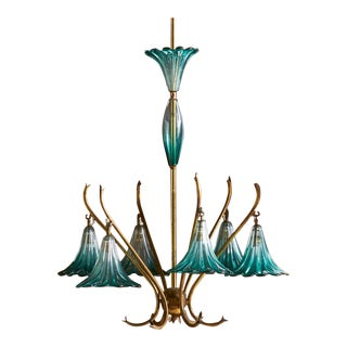 Italian Handblown Teal Glass Chandelier For Sale
