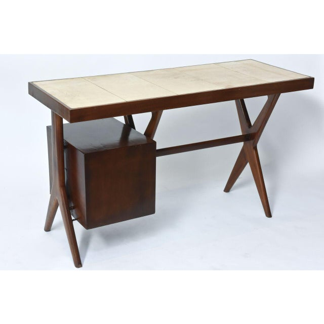 Italia Modern Mahogany and Parchment Desk, Silvio Cavatorta For Sale - Image 10 of 10