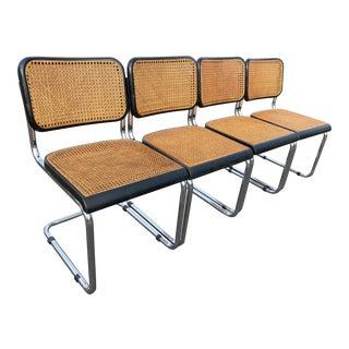 Antique Early Thonet Marcel Breuer B32 Black Cesca Chairs Gfm Poland - Set of 4 For Sale