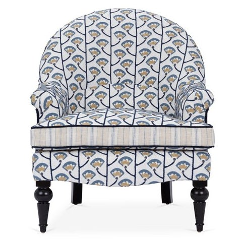 English Traditional Kim Salmela Blue/Ivory Tatum Accent Chair For Sale - Image 3 of 3