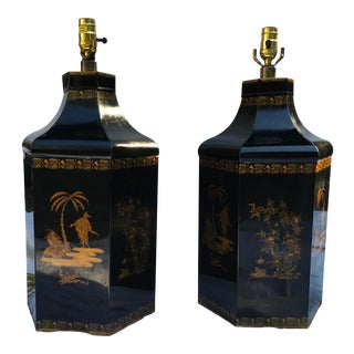 Chapman Italian Tole Chinoiserie Lamps, a Pair For Sale