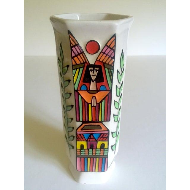 Black Vintage Mid Century Modern El Salavdor Rare Art Pottery Hand Painted Signed Angel Vase For Sale - Image 8 of 13