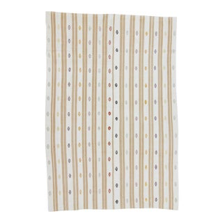 Vintage Handwoven Embroidered Striped Turkish Kilim Rug