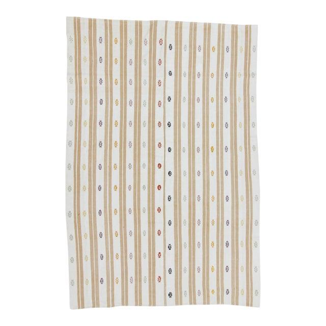 Vintage Handwoven Embroidered Striped Turkish Kilim Rug For Sale