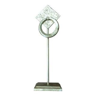 Art Deco Arteriors Home Silver Leaf Iron Towel Holder For Sale
