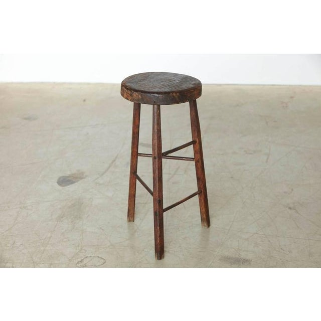 Country Late 19th Century Primitive Rustic Three Legged Stool For Sale - Image 3 of 6