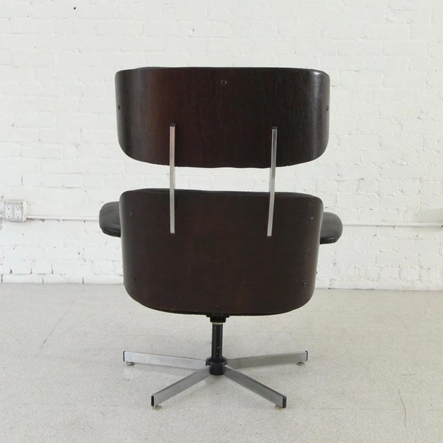 Vintage Black Leather Plycraft Lounge Chair For Sale In Los Angeles - Image 6 of 8