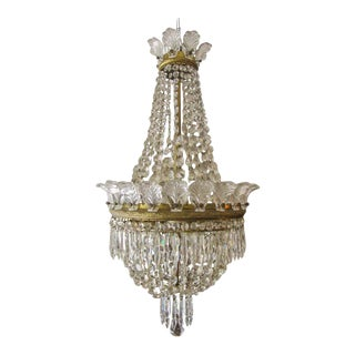 Hollywood Regency French Six-Light Crystal Chandelier For Sale