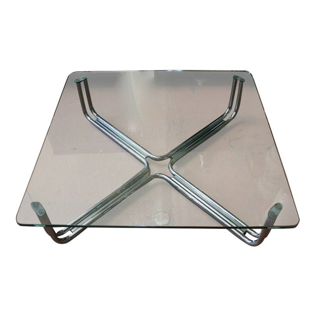 Tubular Chrome and Glass Coffee Table by Gianfranco Frattini for Cassina For Sale