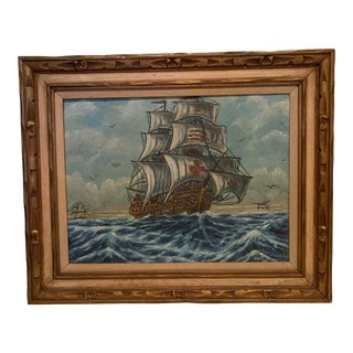 Ocean Scene With Clipper Ships Painting by John Koch (American, 1909–1978) For Sale