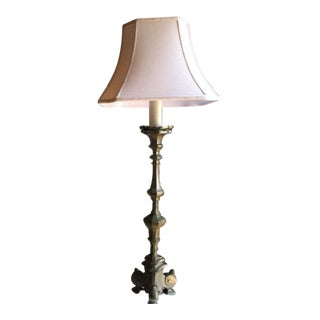 Continental Large Bronze Pricket Lamp For Sale